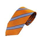 厳選ワンランク上のネクタイ 織柄レジメンタルシリーズ シルク100% オレンジ
