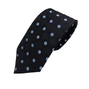 厳選ワンランク上のネクタイ 織大柄シリーズ シルク100% ダークネイビー - 拡大画像