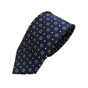 厳選ワンランク上のネクタイ 織大柄シリーズ シルク100% ブルー&イエローゴールド - 拡大画像