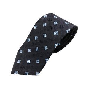 厳選ワンランク上のネクタイ 織花柄シリーズ シルク100% ネイビー&スカイブルー - 拡大画像