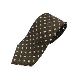 厳選ワンランク上のネクタイ 織小紋シリーズ シルク100% ダークブラウン - 拡大画像