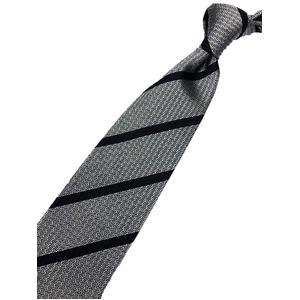 トラッドレジメンタルシリーズ シルク100% ブラック&グレー 大剣幅約8.0cm