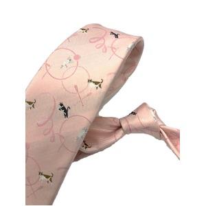 希少生地シリーズ シルク100% ピンク キャット 猫 大剣幅約8.0cm