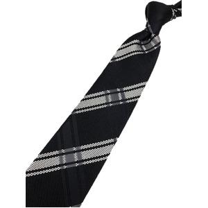チェックシリーズ シルク100% ブラック&ホワイト 大剣幅約8.5cm