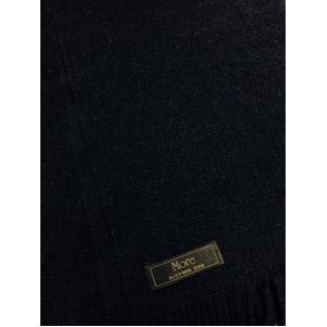 おすすめ 機屋直仕入れ 日本製カシミヤ100% 織マフラー ネイビー 無地