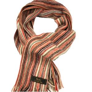 おすすめ 機屋直仕入れ 日本製カシミヤ100% 織マフラー マルチストライプ 暖色カラー ざっくり編み