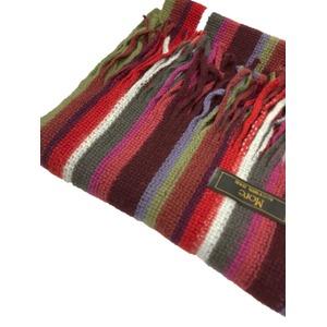 おすすめ 機屋直仕入れ 日本製カシミヤ100% 織マフラー マルチストライプマフラー レッド系カラー