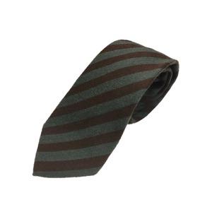 ウール混グランネクタイ 西陣手縫いネクタイ 抹茶×ブラウン - 拡大画像