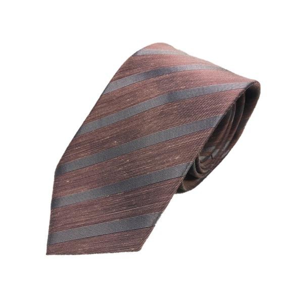 リネン混グランネクタイ 西陣手縫いネクタイ ダークピンク