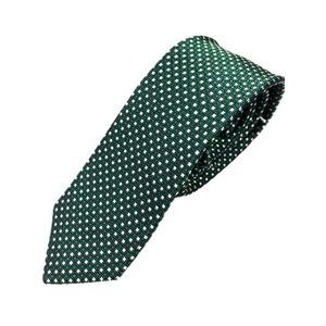 スマートタイ 無地・サテンシリーズ シルク100% グリーン小柄ネクタイ 大剣幅約5.5cm