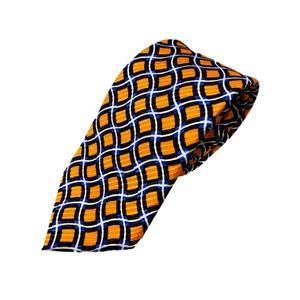 織柄 プリント生地 シルク100% オレンジ