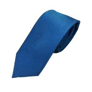高品質シルクネクタイ オーシャンブルー 織り柄 人気 HARNESS HOUSE