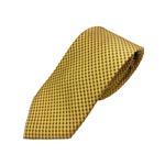 高品質シルクネクタイ 人気 小柄 イエロー 黄土色 手縫い・ミシンステッチ・共裏仕様 HARNESSHOUSE