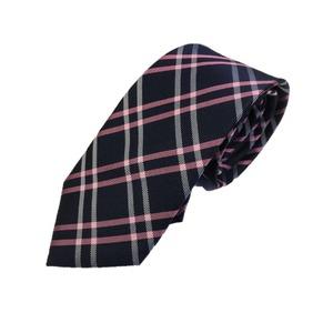 高品質シルクネクタイ チェック ブラック&ローズ 手縫い仕立て