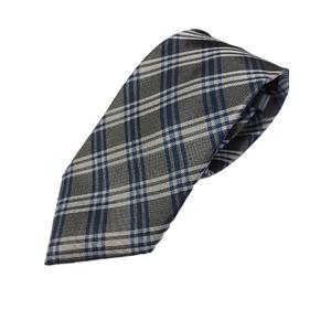 高品質シルクネクタイ チェック シルバー&ブルー 共裏・ミシンステッチ・手縫い仕立て