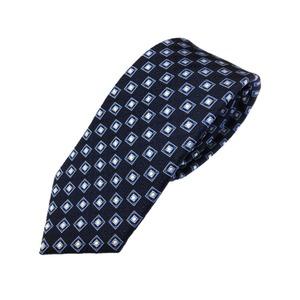 高品質シルクネクタイ 紋柄 ネイビー&ブルー ミシンステッチ仕様