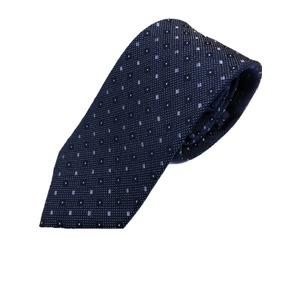 イタリアファクトリーネクタイ シルク100% 小柄 ブルー&ブルー - 拡大画像