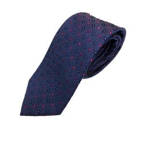 イタリアファクトリーネクタイ シルク100% 小柄 ブルー&ローズ