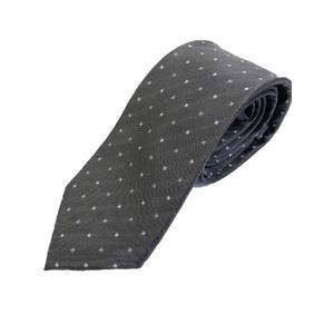 イタリアファクトリーネクタイ シルク100% 小紋 グレー&チャコール