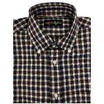 イタリア製ファクトリー コットン半袖シャツ チェック Mサイズ