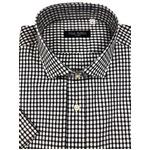イタリア製ファクトリー コットン半袖シャツ チェック ネイビー&ホワイト Mサイズ