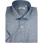 人気 イタリア製ファクトリー コットン半袖シャツ 水玉 ブルー Mサイズ