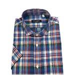 人気 イタリア製ファクトリー コットン&リネン半袖シャツ ブルー Mサイズ