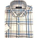 人気 イタリア製ファクトリー コットン&リネン半袖シャツ ホワイト Mサイズ