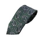 おすすめ 日本製シルク100%ネクタイ ペイズリー 共裏仕様 モスグリーン×シャンタン系