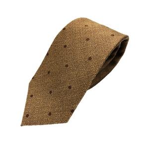 おすすめ 日本製シルク100%ネクタイ 水玉 ブラウン系 - 拡大画像