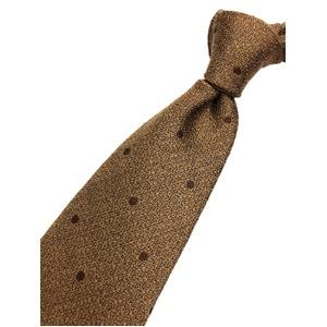 おすすめ 日本製シルク100%ネクタイ 水玉 ブラウン系