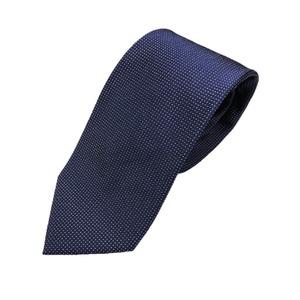 日本製シルク100%ネクタイ ピンドット ネイビー/ホワイト - 拡大画像