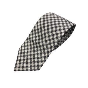 日本製シルク100%ネクタイ チェック グレー