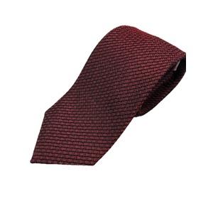 日本製シルク100%ネクタイ 無地織り エンジ 編立タイプ