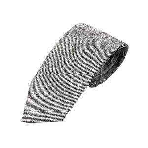 日本製シルク100%ネクタイ 無地織り ホワイトシルバー ストライプ - 拡大画像