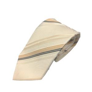 日本製シルク100%ネクタイ 無地織り ストライプ ゴールド/クリーム - 拡大画像