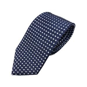おすすめ 手縫い・共裏・ミシンステッチ仕様 シルク100%ネクタイ ネイビー/小柄