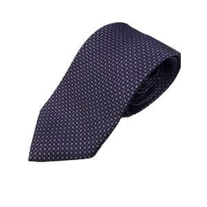 おすすめ 手縫い・共裏・ミシンステッチ仕様 シルク100%ネクタイ パープル/小柄 - 拡大画像