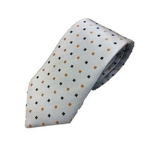 シルク100%ネクタイ 小柄 淡いブルー クラシックデザイン