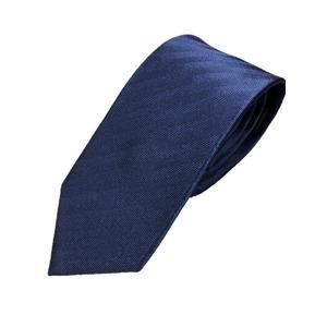 手縫い シルク100%ネクタイ ヘリンボーン/ネイビー - 拡大画像