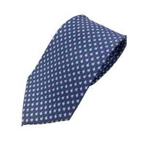 手縫い・共裏仕様 手縫いシルク100%ネクタイ ブルー プリントタイプ - 拡大画像
