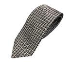 シルク100%ネクタイ シルバー&グレー 小柄