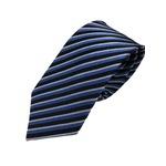 イタリア製 シルク100%ネクタイ From MILANO ブルー×レジメンタルストライプ
