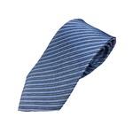 イタリア製 シルク100%ネクタイ From MILANO 淡いブルーストライプ