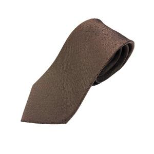 イタリア製 シルク100%ネクタイ From MILANO ドット・織柄 デザイン ブラウン - 拡大画像