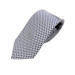 シルク100%ネクタイ ネイビー×ホワイト 楕円