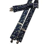 おすすめ 日本製サスペンダー ゴム&メタル ペイズリー×ネイビー