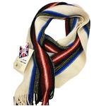 人気 英国製 Factory Made Pure New Wool100% オフホワイト×ドレススチュワート