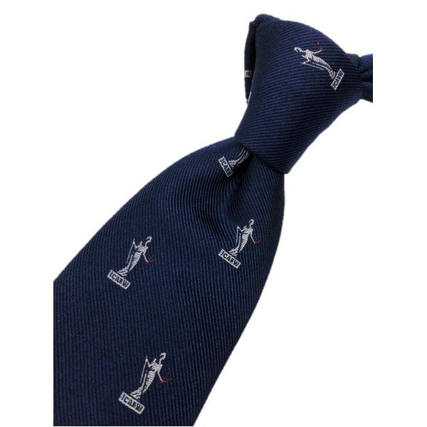 トラッド シルク100%手縫いネクタイ クレスト×ネイビー