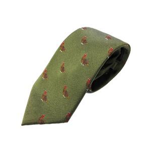 トラッド シルク100%手縫いネクタイ クレスト(バード)×抹茶(グリーン) - 拡大画像